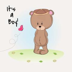 Shower cute teddy bear boy in cap.