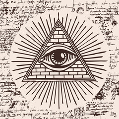 Vector banner with Eye of Providence. All-seeing eye inside triangle pyramid. Symbol Omniscience. Luminous Delta. Ancient mystical sacral masonic symbol on a background of an old illegible manuscript