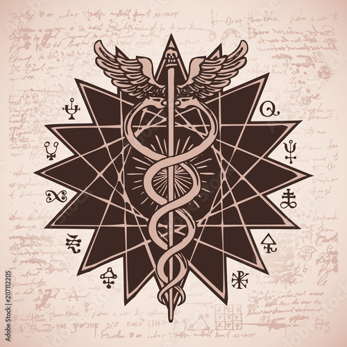 Vector Banner With A Hand Drawn Illustration Of A Caduceus With An