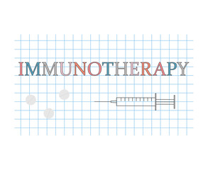 Immunotherapy word on checkered paper sheet- vector illustration