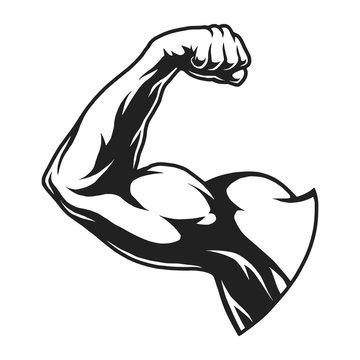 Vintage bodybuilder flex arm template