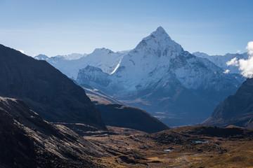 Ama Dablam mountain peak in Everest region view from Chola pass, Everest region, Nepal
