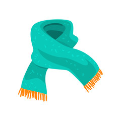 Turquoise woolen scarf with orange fringe on the ends. Element of winter clothing. Accessory for cold weather. Flat vector design