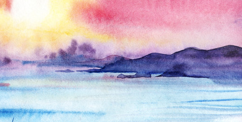 Far violet mountains on the opposite sea shore. Pink yellow golden blue sunset. Seascape. The sky is the sea of the mountain. Hand drawn watercolor on wet paper illustration.