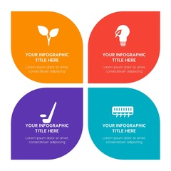 Flat food, hotel, sports, nature infographic timeline template with floral shape for presentations, advertising, annual reports