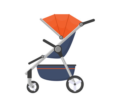 Vector stroller isolated on white background.