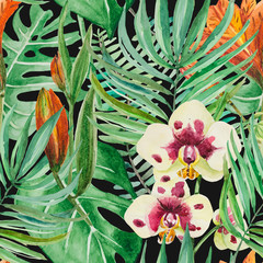 Blooming Rainforest. Huge palm leaves and monstera, flowers of orchids and lilies at night.