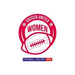 Women Football Logo Vector Template Design Illustration