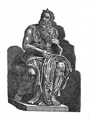 Statue of Moses by Michelangelo Buonarotti (from Das Heller-Magazin, January 11, 1834)