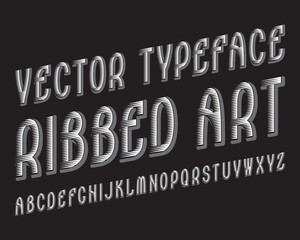 Ribbed Art Vector typeface. White gray contrasting font. Isolated english alphabet.
