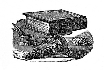 Strong muscles of insect - caterpillar of  goat moth (Cossus cossus) easily escapes from a glass covered by a heavy book (from Das Heller-Magazin, January 1, 1834)