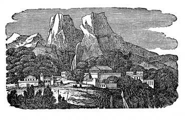 Delphi, ancient sanctuary at Greece (from Das Heller-Magazin, January 1, 1834)