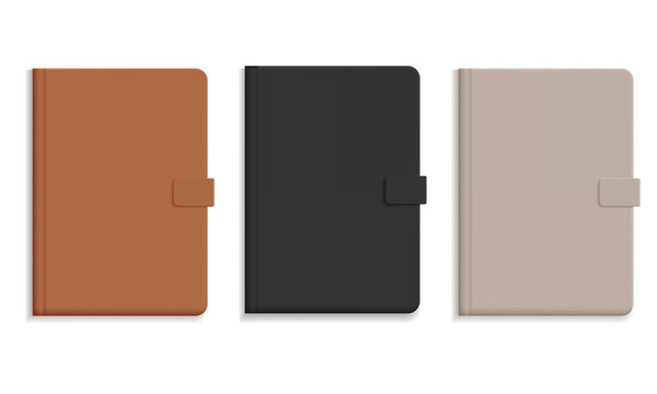 Set of diary or notebook in hard leather cover, black and brown and champagne color