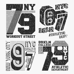 Brooklyn New York vintage t shirt stamp set