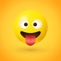 Crazy face with tongue emoji - A cross eyed face showing a stuck-out tongue
