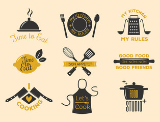 Bakery shop badges and cooking labels design classic kitchen elements set vector illustration.