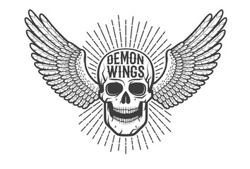 Retro authentic emblem, tattoo is a skull with wings.