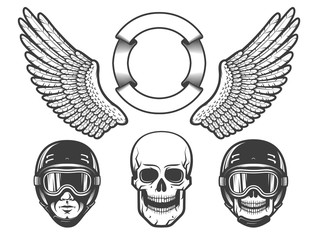 Set of design elements for creating a racing emblem - wings, a rider's head in a helmet, skull.
