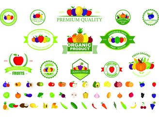 Set of fruit and vegetables logo for groceries,  agriculture and farm market, packaging and advertising. Fruits design elements