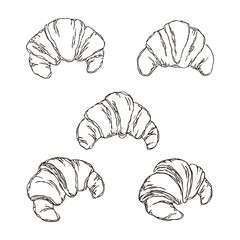 vector contour croissant bread set coloring book outlined