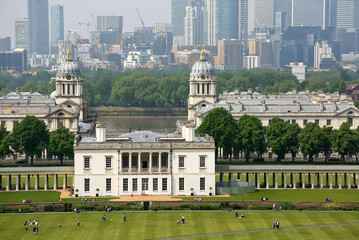 Aerial view of Old Royal Navy College a World Heritage Site in Greenwich, London, built and completed in 1712 by Sir Christopher Wren.