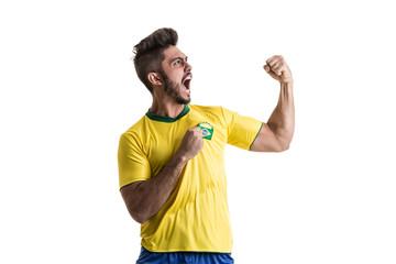 Brazilian male athlete / fan celebrating on white background