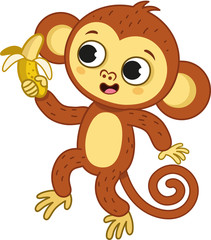 The cute monkey holding a banana. Vector illustration.