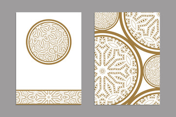Templates for greeting and business cards, brochures, covers. Oriental pattern. Mandala. Wedding invitation, save the date, RSVP. Arabic, Islamic, moroccan, asian, indian, african motifs.