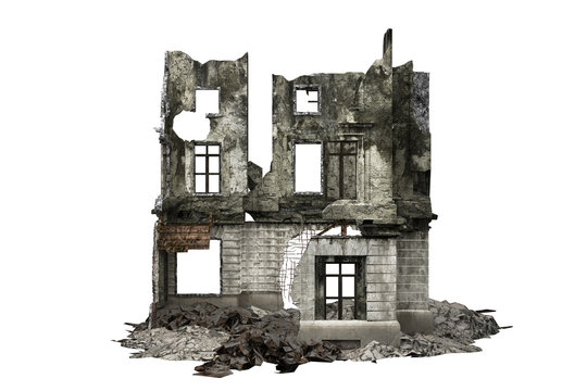 building ruins isolated on white