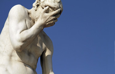 Facepalm statue - disbelief, sadness, depression Wall mural
