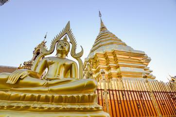 Golden buddha,wat phra that doi suthep temple, Chiang mai, Thailand