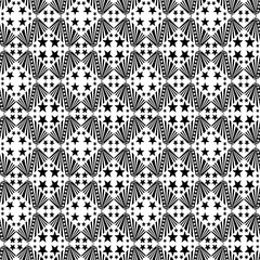 Seamless decorative pattern with a five-pointed stars in a black - white colors