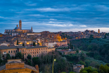 Scenery of Siena, a beautiful medieval town in Tuscany, with view of the Dome & Bell Tower of Siena Cathedral