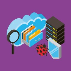 database center analysis secuirty virus cloud computing storage isometric vector illustration