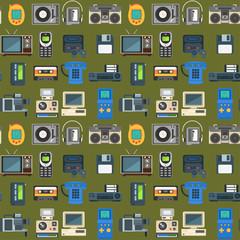 Vintage technologies vector retro audio multimedia entertainment old electronic gadget communication seamless pattern background illustration.