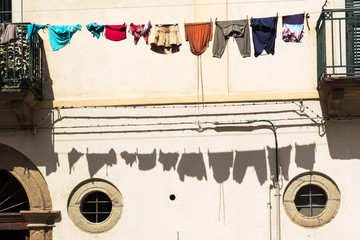 Clothes hanging in the sun