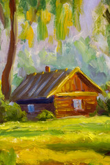 A brown old wooden house is a rustic landscape nature. Rural summer landscape. Fragment of oil painting.