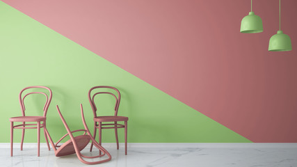 Attraktiv Minimalist Architect Designer Concept With Three Classic Colored Chairs,  One Chair Turned Violet On Pink
