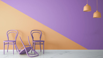 Minimalist architect designer concept with three classic colored chairs, one chair turned violet on orange and violet background and marble floor, living room interior design with copy space