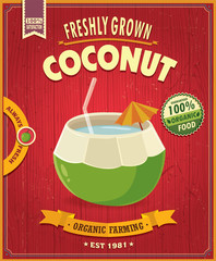 Vintage food poster design with vector coconut.