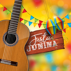 Festa Junina Illustration with Acoustic Guitar, Party Flags and Paper Lantern on Yellow Background. Typography on Vintage Wood Table. Vector Brazil June Festival Design for Greeting Card, Invitation