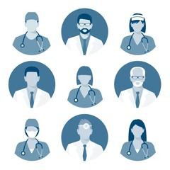 Medical avatars set vector. Medical clinic staff flat avatars. monochrome