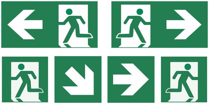 emergency exit sign set