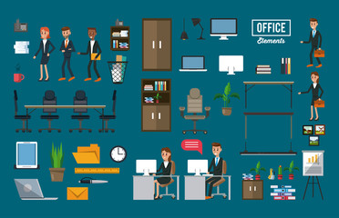 Set of office elements collection vector illustration graphic design