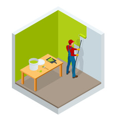Isometric roller brush painting, worker painting on steel surface wall by the roller brush for protection and corrosion. Construction building industry, new home, interior. Vector illustration