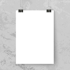 Poster binder clips. Simple poster mock up on grey grunge wall. Vertical paper on binder clips. Place for text, photo, illusttation. Canvas. Flyer. Business template.