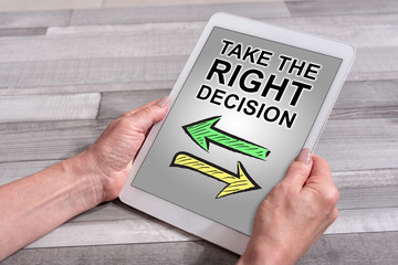 Right decision concept on a tablet