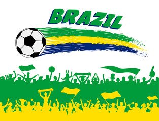 Brazil flag colors with soccer ball and Brazilian supporters silhouettes