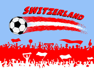 Switzerland flag colors with soccer ball and Swiss supporters silhouettes