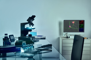 Microscope, computer monitor with digital fluorescent image of neuronal cells and histological fixation tools on glass table.
